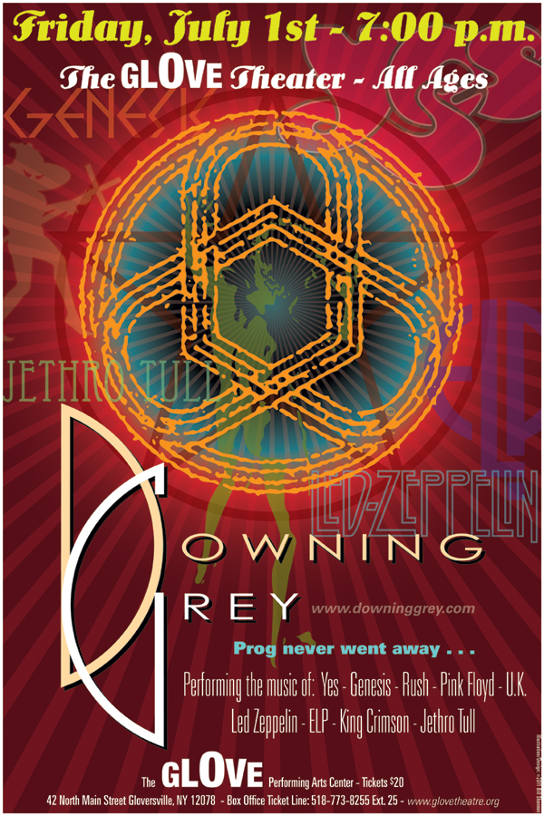 Former members of the progressive rock tribute band Downing Grey came together to form Circuline - past poster #1