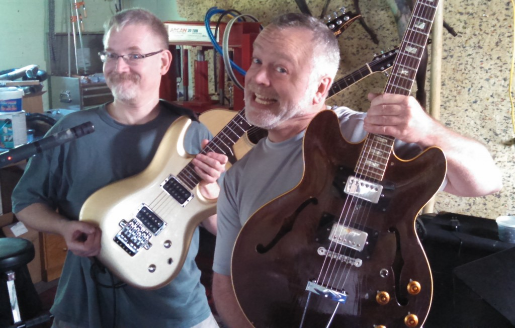 "The ""Silly Billies"" - Bill Shannon and Billy Spillane showing off their guitars."