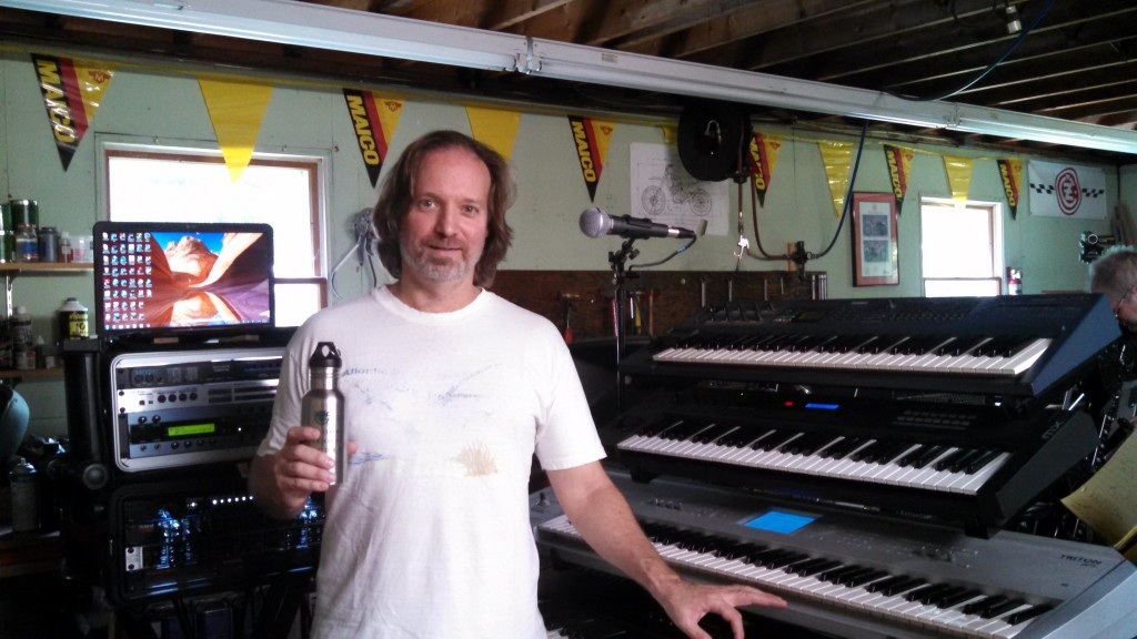 "Andrew Colyer with his keyboard rig at ""The Toolshed""."