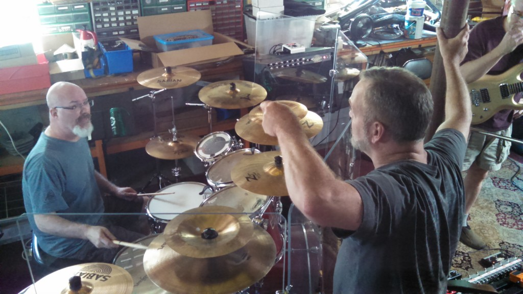 Darin Brannon and Billy Spillane work out some drum parts.