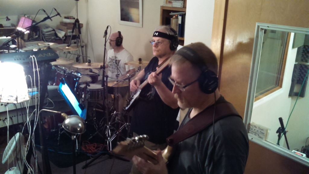 Circuline in the studio - July 2014 - Darin Brannon (drums), Dan Aggers (bass), and Bill Shannon (guitar)