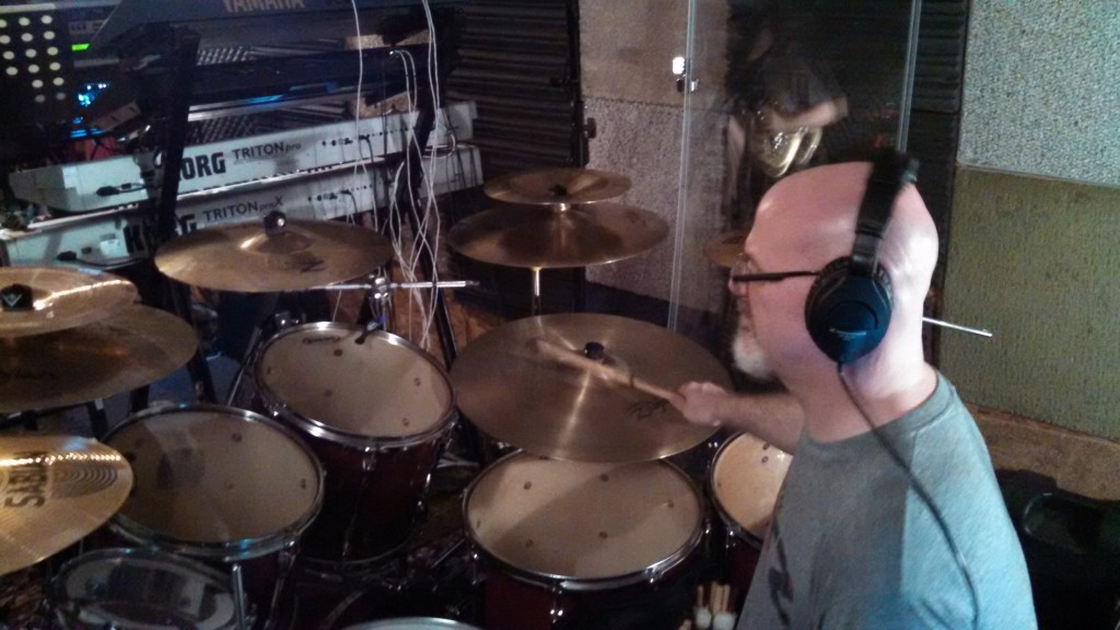 Darin Brannon works out his drum parts in The Cave.