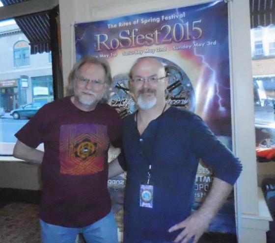 Robert Romano Bright wearing his Circuline t-shirt at the Rites of Spring Festival with Circuline drummer Darin Brannon