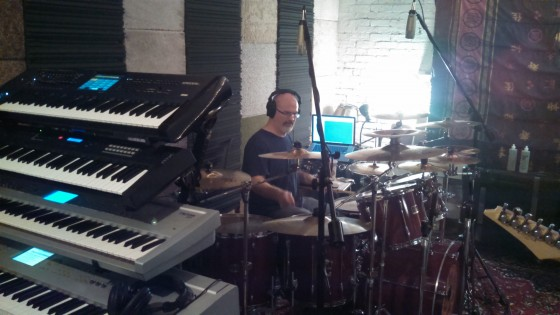 Darin Brannon behind his drum kit in The Cave.