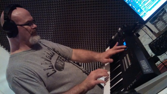 Darin Brannon writing at the keyboard for Circuline's second album.