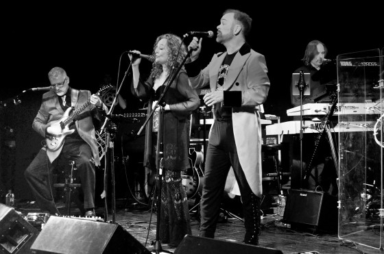 Circuline members Bill Shannon (guitar), Natalie Brown (lead vocals), Billy Spillane (lead vocals), and Andrew Colyer (keyboards, vocals) onstage at the Bearsville Theater in Woodstock, New York