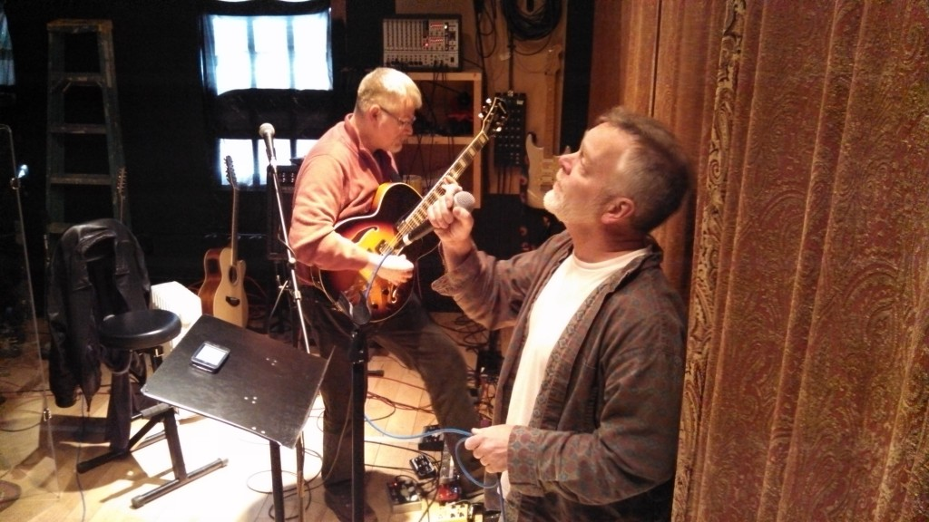 Bill Shannon and Billy Spillane working on original material at Circuline rehearsal.