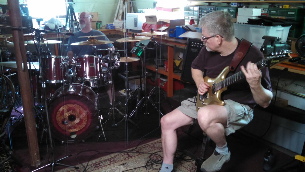 Darin Brannon and Bill Shannon composing original music at Circuline rehearsal - July 2014.