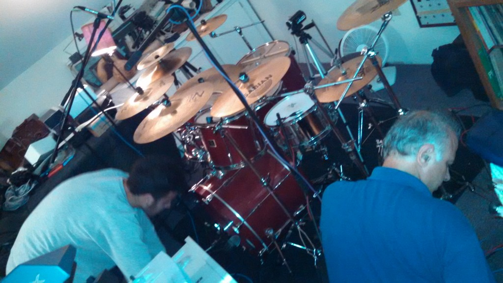 Setting up the drum mics for Darin's kit