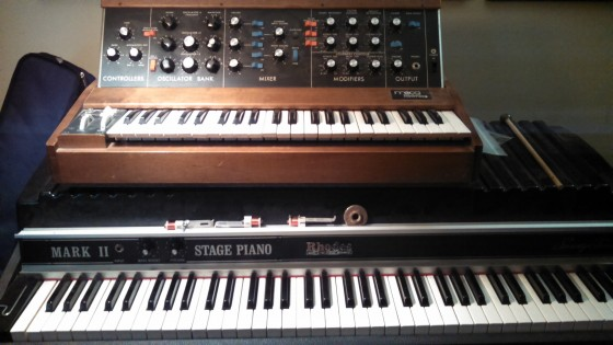 Vinnie Martucci's vintage Minimoog and Rhodes piano - from his touring days.