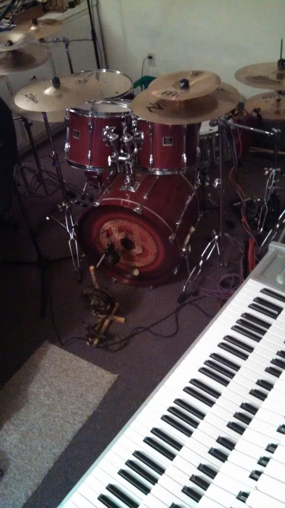 Keys setup next to the drums - man, it's loud!