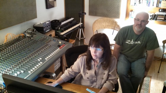 Engineer Julie Last begins mixing Darin Brannon's drums at Coldbrook Productions - September 2014