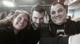 Superfan Rita Kay Drew, musician Randy McStine, and superfan Thomas Palmieri