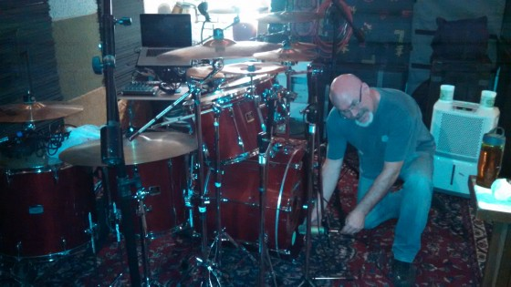 Darin Brannon sets up his drum mics in The Cave.