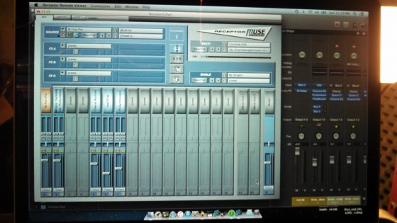 Andrew Colyer's new keyboard rig - a MacBook Pro running Mainstage 3, controlling a Muse Receptor.