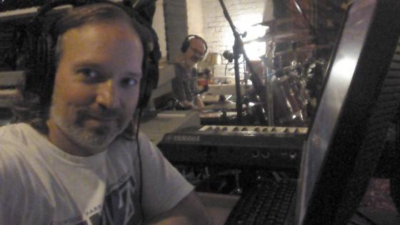 Andrew Colyer and Darin Brannon recording Circuline's second album in The Cave.